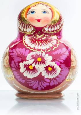 120 mm Daisies Hand Painted Wooden Matryoshka doll 10 pcs (by Valentina Dolls)