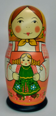 160 mm Mistress with Doll hand painted Traditional Russian Wooden Matryoshka doll 5 pcs (by Igor Malyutin)