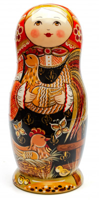 280 mm Russian Family with Chickens and Sunflowers hand painted Wooden Matryoshka doll 10 pcs inside