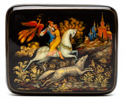 100x80mm Tale of Grey Wolf hand painted lacquered box from Palekh (by Pavel Studio)