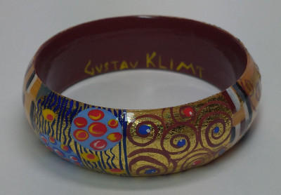 Klimt famous painting hand painted on wooden Bracelet (By A Studio)