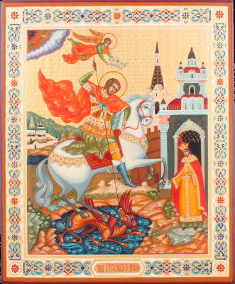 The Miracle of Snt George about the Serpent handpainted wooden Icon (by Galina Studio)