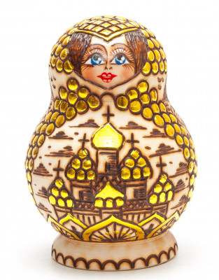 120 mm Moscow Cathedrals hand painted and burnt Russian Matryoshka round doll 5 pcs (by Olga Burnt Wooden Dolls)