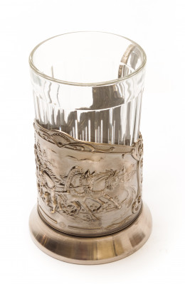 Troika Nickel Plated Brass Tea Glass Holder with Faceted Glass (by Kolchugino)