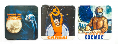 Coasters with Soviet Space Posters