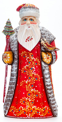 230mm Santa with a Magic Staff and a Bird handpainted Wooden Carved Statue (by Natalia Nikitina Workshop)