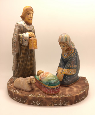 Nativity Large Set of 4 handpainted Carving Wooden Figures