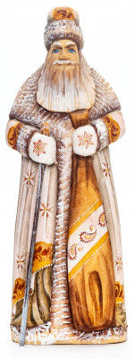 240 mm Santa with a Magic Staff and a Bag handpainted Wooden Carved Statue (by Natalia Nikitina Workshop)