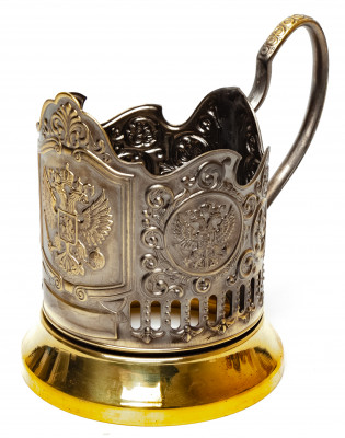 Coat of arms of Russia Pure Brass Tea Glass Holder with Faceted Glass (by Kolchugino)
