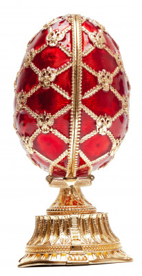 115 mm Red Easter Egg with the Crown and Clock