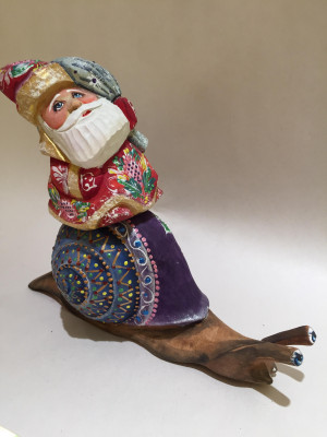ded moroz riding a snail