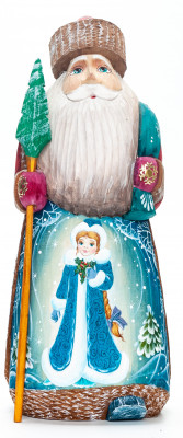 210 mm Santa with a Magic Staff with handpainted Snowmaiden Wooden Carved Statue (by Igor Carved Wooden Figures Studio)