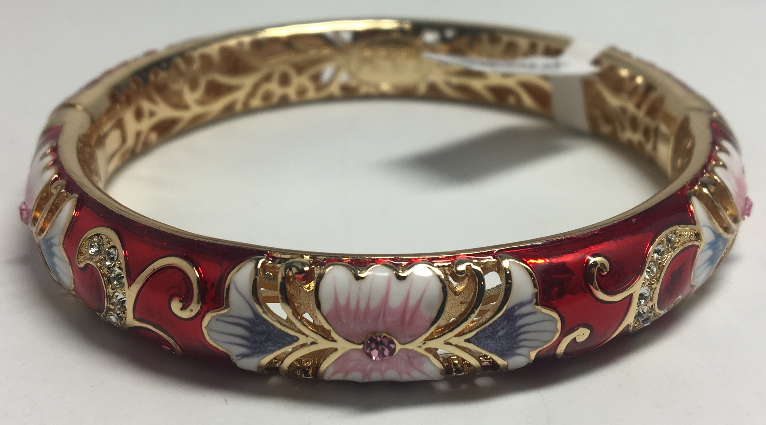 Flowers Red Bracelet with Enamel (by AKM Gifts)