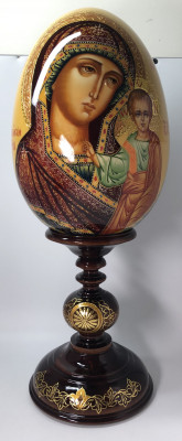 460 mm Kazan Godmother Russian Icon handpainted wooden Egg with wooden inlaid standby (by Trifonov Studio)