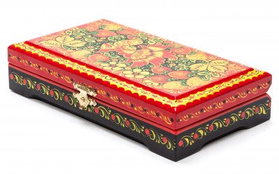 Khokhloma Painting Jewellery Wooden Box 180x100 mm