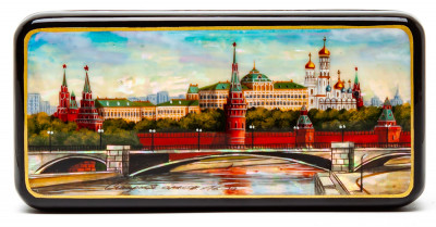 150x70mm Moscow Kremlin hand painted lacquered jewelery box (by Tatiana Shkatulka Crafts)