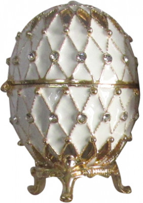 70 mm Golden Trellis on White Enamel Easter Egg