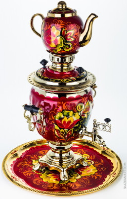 Flowers Hand Painted Electric Samovar Kettle with Teapot and Tray