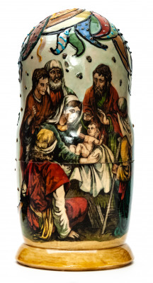 180 mm Christmas Day hand painted Matryoshka round Doll 5 pcs (by Skazka)
