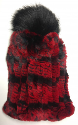 Red and Black Rabbit Hair Knitted Women Hat (by Skazka Furs)