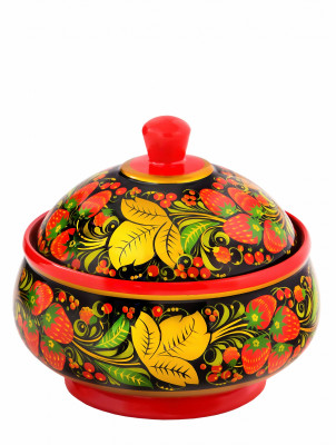 125x140 mm Khokhloma hand painted wooden Sugar Bowl (by Golden Khokhloma)