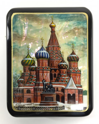 75x115 mm Moscow Snt Basil Cathedral hand painted papier-mache lacquered Jewelry Box (by Tatiana Crafts)