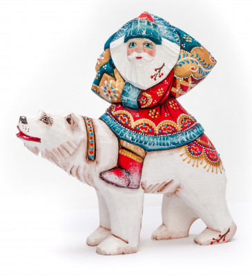 180 mm Santa with a Bag riding a Bear Carved Wood Hand Painted Collectible Figurine (by Igor Carved Wooden Figures Studio)