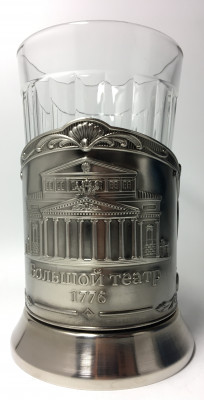 Bolshoi Theatre Nickel Plated Brass Tea Glass Holder with Faceted Glass (By Kolchugino)