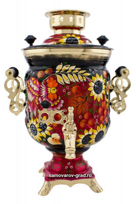 Phoenix and Sunflower Hand Painted Electric Samovar Kettle