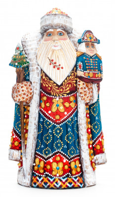 230 mm Santa with a Magic Staff and a Nutcracker Carved Wood Hand Painted Collectible Figurine (by Natalia Nikitina Workshop)