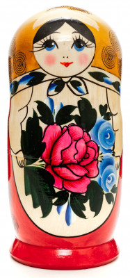 170 mm Golden Head Semenovskaya Hand Painted Wooden Russian Matryoshka Nesting Doll 7 pcs inside (by Ivan Studio)