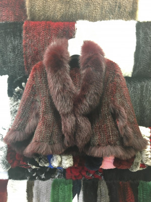 Burgundy Mink Fur Spiral Cape with Arctic Fox Collar