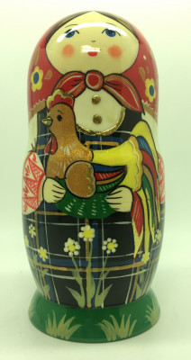 180 mm Russian Girl plays with Chicken hand painted wooden Matryoshka doll 5 pcs (by A Studio)