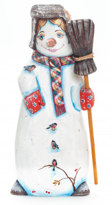 230 mm Snowman with a Broom hand painted wooden figurine (by Natalia Nikitina Workshop)