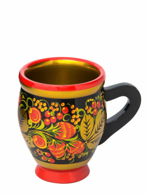 100x80 mm Khokhloma hand painted wooden Mug (by Golden Khokhloma)