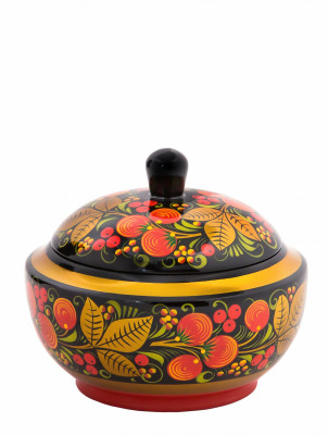 100x120 mm Khokhloma hand painted wooden Sugar Bowl (by Golden Khokhloma)