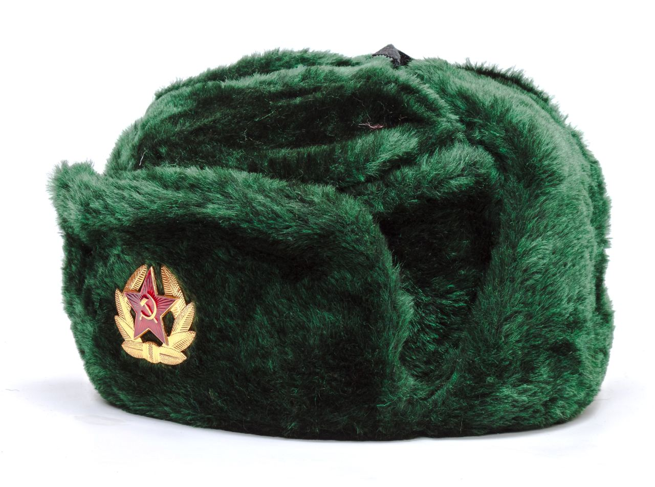 USSR Red Army Fur Ushanka Winter Hat (green, any size)