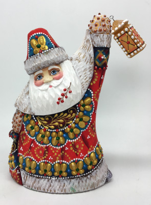 150 mm Santa Claus hand carved and painted wooden statue (by Natalia Workshop)