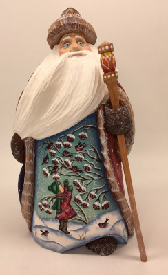 180 mm Santa Claus with picture Girl feeds Bullfinch hand painted wooden statue (by Sergey Christmas Workshop)
