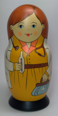 160 mm Doctor hand painted Traditional Russian Wooden Matryoshka doll 5 pcs (by Igor Malyutin)