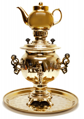 Acorn Electric Gold Samovar Kettle with Teapot and Tray