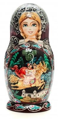 160mm Russian Fairytale hand painted Matryoshka round Doll 5pcs (by Skazka)
