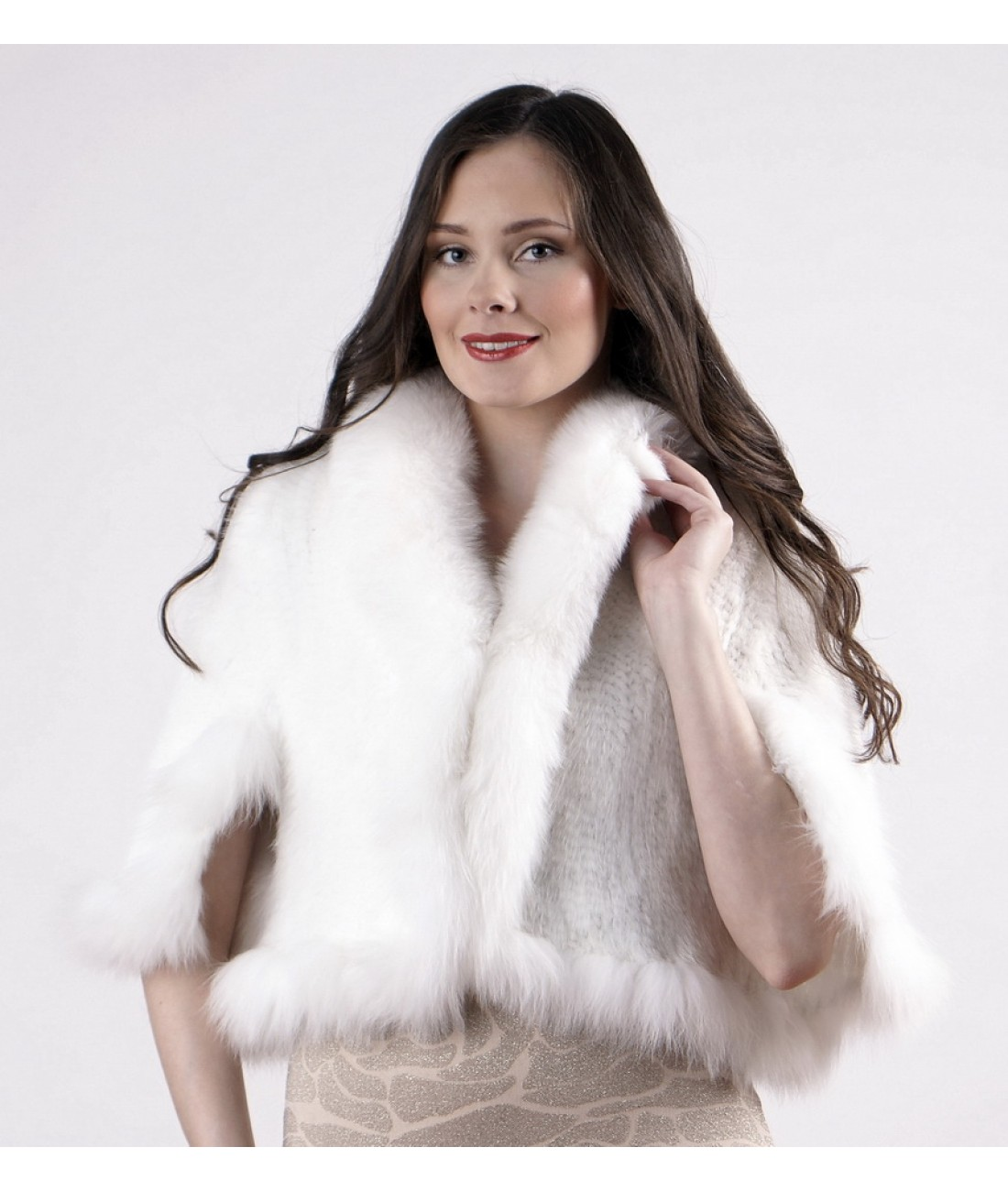White Mink Fur Spiral Cape with Arctic Fox Collar