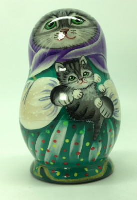 90 mm Mother Cat with Kitten hand painted wooden Matryoshka doll 5 pcs (by vasily Crafts)