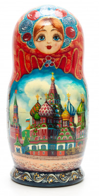 300 mm Moscow Saint Basil Cathedral handpainted Wooden Matryoshka Doll 10 pcs (by Valery Crafts)