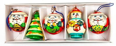 220x70 mm Russian Christmas Tree Ornaments set of 5 pcs (by Andrey Studio)