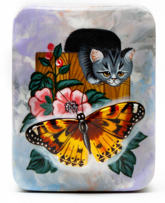80x65mm Cat Hand Painted Jewellery Box (by Tatiana Arts)