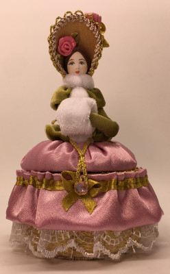Girl with a Clutch in a Winter Hat and Dress of the 18th century style hand-sewn Doll with Jewelry Box (by Le Russe)