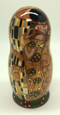 120 mm The Kiss by Klimt hand painted on wooden Matryoshka doll 5 pcs (By A Studio)