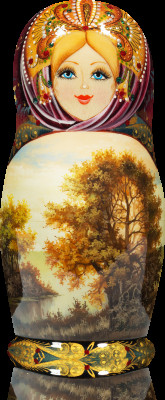 180 mm Autumn landscapes hand painted Wooden Matryoshka Doll 5 pcs (by Vasily Crafts)